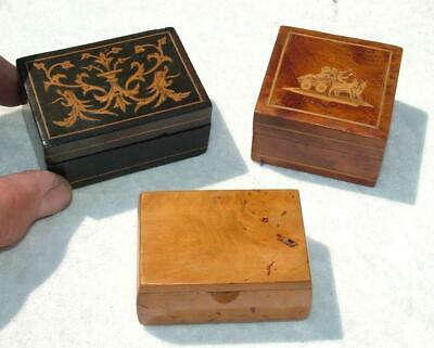3 x ANTIQUE WOODEN PATCH TRINKET BOXES SORRENTO WARE & BURR WOOD LOVELY BOXES