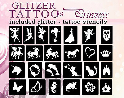 75 Self Adhesive Glitter Tattoo Stencil motive / template especially for Girls
