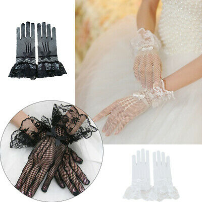 Ladies 30cm Long finger Wrist Lace Gloves Wedding Party Evening Prom Wedding UK
