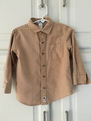 Janie & Jack ~ Shirt ~ Toddler ~ Age 2 ~ checked ~ beige ~ Flannel ~ Soft ~ EUC