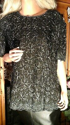 Vtg Adrianna Papell Boutique Evening Nwt Formal Black Silver Shimmer Top Plus 3X