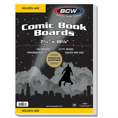 (100) Bcw Comic Book Golden 2 Mil Poly Bags & Acid Free Backing Boards