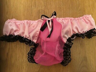 """AdultBaby Sissy Mens Pouch Thong pink chiffon & satin 30-48"""""""