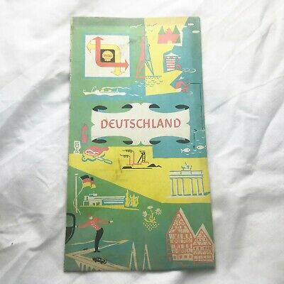 Vintage Shell Deutschland Germany Road Map Tourist Tourism