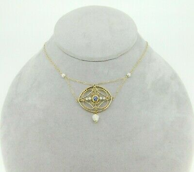 Art Deco 14k Yellow Gold Festoon Lavaliere Necklace with Pearls (#J4351)