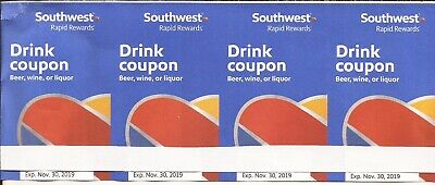 Southwest drink coupons, 4, Exp.11/30/2019