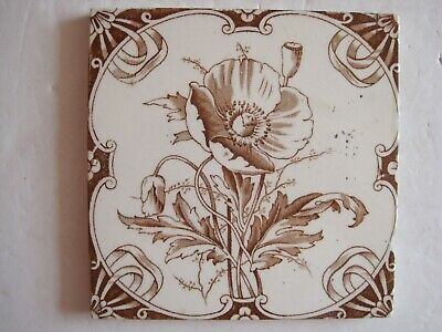 Antique Victorian Transfer Print Brown Poppy Wall Tile - Brook Tile Co