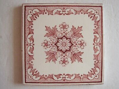Antique Victorian Pink / Red Aesthetic Transfer Print Tile - Sherwin & Cotton