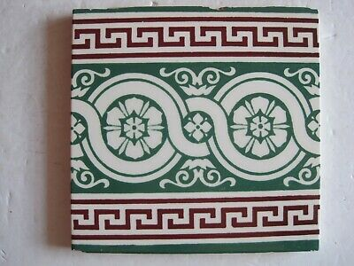 Antique Victorian Minton's Green / Red Interlocking Circular Floral Border Tile