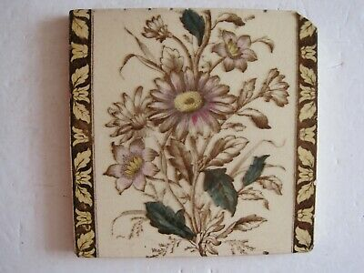 ANTIQUE VICTORIAN FLORAL PRINT & TINT REPEAT PATTERN WALL TILE PATTERN No.206