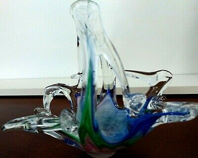 Murano Hand-blown Glass Small Basket Blue Pink Green