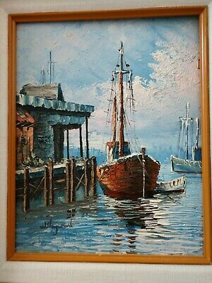 Oil Painting Of Harbor with Sailboats By W Hayward