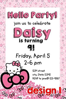 Hello Kitty Neon Tween Birthday Party Invitations Save The