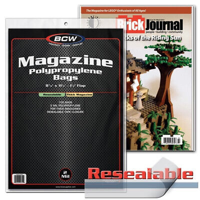 (100) Bcw Magazine Thick Resealable Size 2 Mil Soft Poly Storage Display Bags