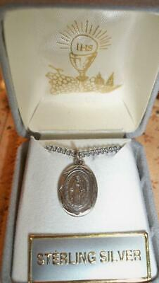 NIB Sterling Silver Immaculate Mary Medal  with 17 Inch Chain w/ IHS Gift Box