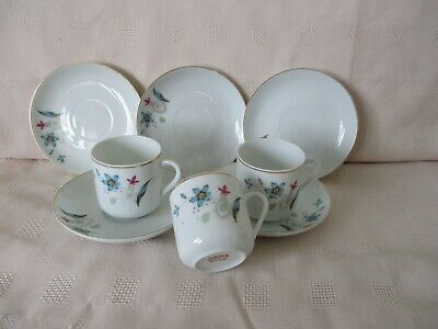 8 Tea Set Pieces, Cups and Saucers, White Pink Flowers, Chinese Oriental, China