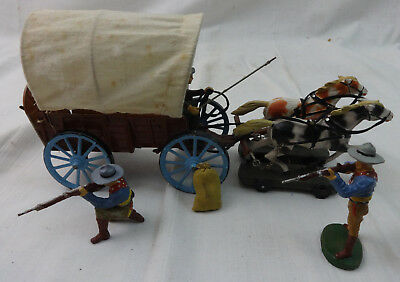 Rare Antique Elastolin Prairie Schooner Covered Wagon Toy w/Original Box