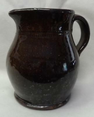 Antique Redware Pitcher Coggle Band Decoration 19th Century in Fine Condition