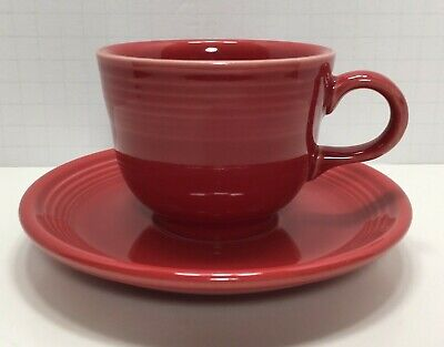 Homer Laughlin Fiesta Ware Scarlet Red Coffee/Tea Cup And Saucer Set