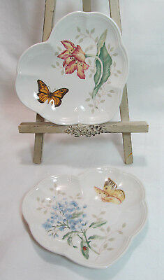 Lenox USA BUTTERFLY MEADOW Set of 2 Heart Shaped Party Plates VGC