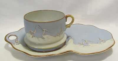 Japan Vintage Hand Painted WHITE CRANES Eggshell Cup & Snack Plate