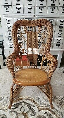 Antique Heywood Brothers and Wakefield Ornate Victorian Wood Wicker Rocker Chair