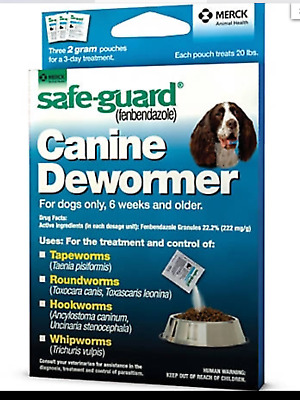 DOG Safe-Guard fenbendazole Canine Dewormer (8 in 1) Treats 20 lb PANACUR