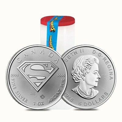 Roll of 25 - 2016 1 oz Silver Canadian Superman: S-Shield .9999 Fine $5 Coin