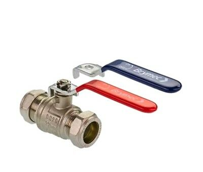 LEVER BALL VALVE 35MM RED HANDLE COMPRESSION FULL LARGE BORE HOT WATER WRAS