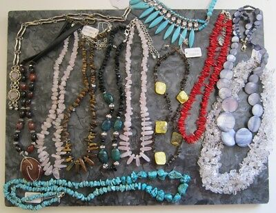 MIX Handmade Beautiful NECKLACES Agate Coral Rose Quartz tiger's eye turquoise