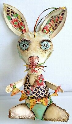 Original Outsider Art Bunny Painted Vintage Fabric Hand-stitched Door Hanger