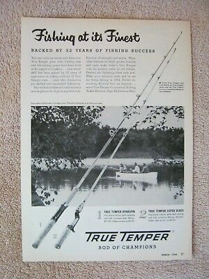 Vintage 1954 True Temper Dynaspin Super Glass Bass Fishing Rods Finest Print Ad