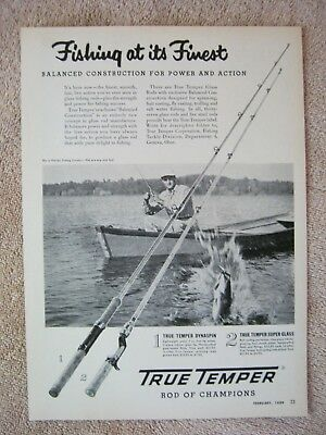 Vintage 1954 True Temper Dynaspin Super Glass Bass Fishing Rods Print Ad