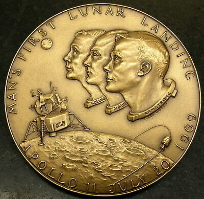 1969 - Man's 1St Apollo Lunar Landing -  High Relief Bronze Medallic Art Medal