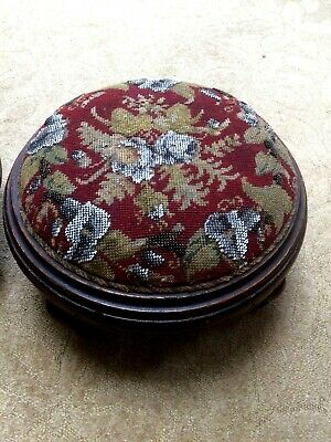 Antique Victorian Beadwork Tapestry Needlepoint & Wooden Footstool Lily & Roses