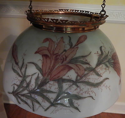 Antique Victorian Brass Glass Adjustable Oil Kerosene Ceiling Lamp Painted Shade