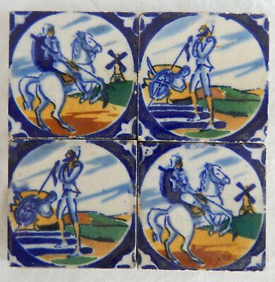 4 Antique Vintage Don Quixote Delft Spanish Ceramic Cobalt Blue Tiles