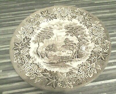 """Vintage English Ironstone Pottery Windsor Castle Brown China Dinner Plate 9"""""""