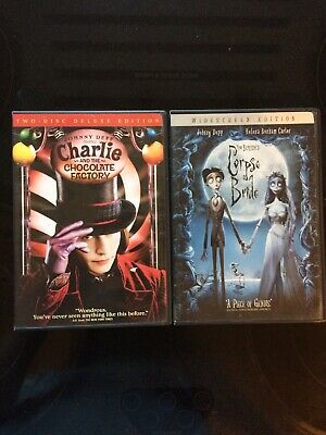 Charlie & the Chocolate Factory / Corpse Bride (DVD, 3-Disc Lot) 2 MOVIE BUNDLE