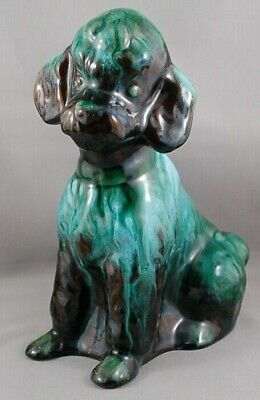 Vintage Blue Mountain Pottery Green and Black Red Clay Glaze Poodle