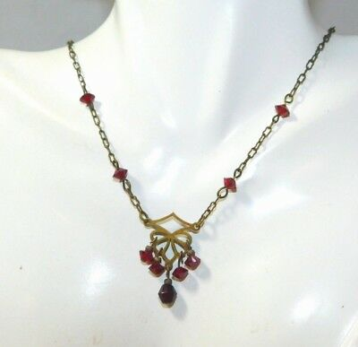 Robert Rose Victorian Revival Garnet Red Crystal Gold tone Dainty Necklace 9i 18