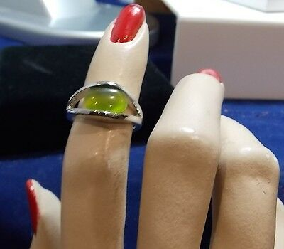 Beautiful Silver plated Olive Green Oval Moonglow Glass Ring Size 5.25