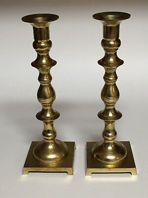 """Pair of Tall Brass Candlestick Holders Marked Japan 9 1/4"""" Tall"""