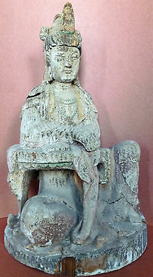 Kwan-Yin Goddess Carved Wooden Garden Figure Statue in Chinese Circa. 1950's