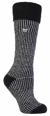 Thermal Wellington Boot Heat Holders Socks UK size 4-8  Black / Cream