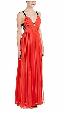 a5ca6780d9f1 ABS by Allen Schwartz Gown 12 Ruched Bodice Accordion Pleated Skirt Dress  k36