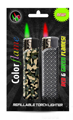 Color Flame Fire Butane Colorflame Camo Torch Lighters Green & Red Flames