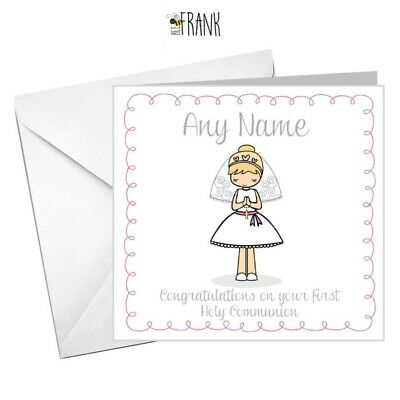 Personalised Cute First Holy Communion card for boy or girl