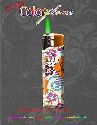 Color Flame Fire Butane Colorflame Torch Lighter Green Flame Orange Floral Print
