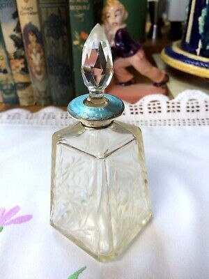 Antique cut glass scent bottle silver collar Blue Guilloche Enamel